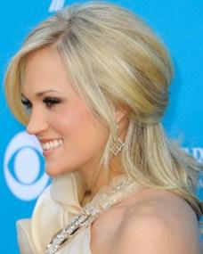 Side view of Carrie Underwood Half Up Half Down Hairdo