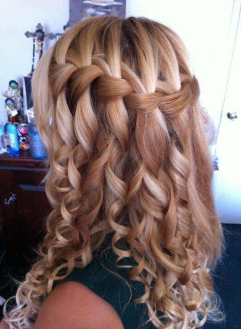 Curly Waterfall Braid Hairstyle 2013