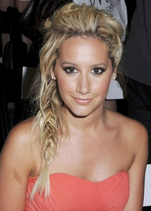 Side Fishtail French Braid for Long Blonde Hair