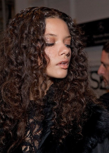 Side view of Marina Nery Long Curly Hairstyle