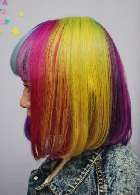 Left Side View of Short Rainbow Hairstyle