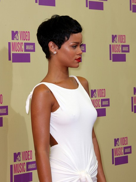 Side View of Rihanna Short Curly Hairstyle