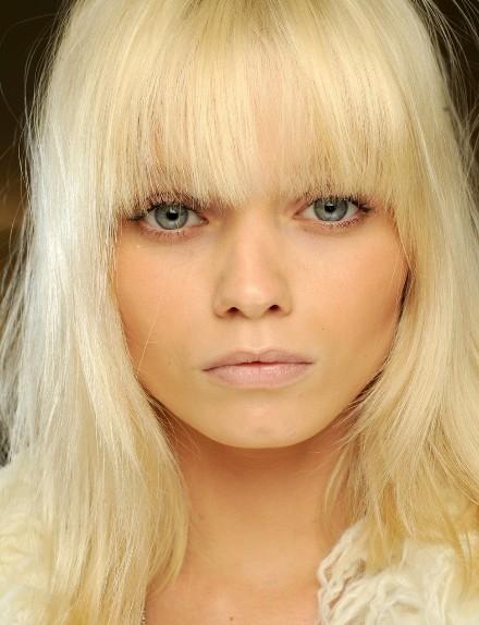 Beautiful Blonde Hair with Blunt Bangs