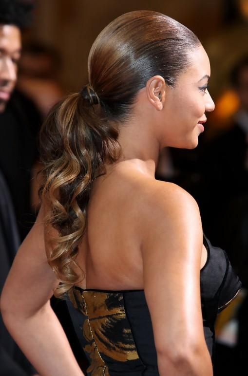 Back View of Beyonce Knowles Sleek Curly Ponytail