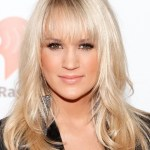 Carrie Underwood Long Straight Hairstyles with Wispy Bangs