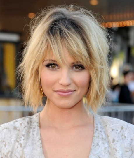 Dianna Agron Layered Ombre Bob Hairstyle