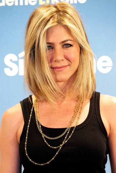 Jennifer Aniston Lob Hairstyle Medium Straight Blonde Bob