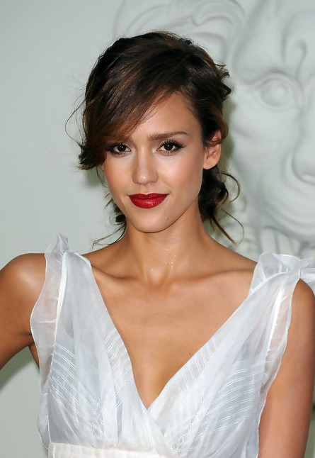 Jessica Alba Chic Trendy Messy Updo With Bangs
