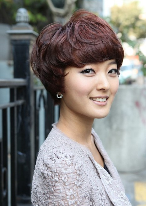 Korean Short Red Hairstyle with Full Bangs