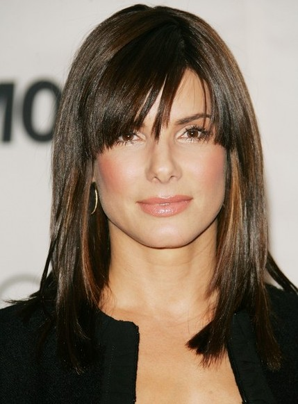 Medium Straight Hairstyle with Side Swept Bangs