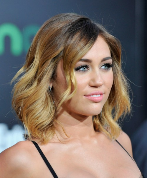 Miley Cyrus Ombre Hair: Layered Mid Length Hairstyles for Women
