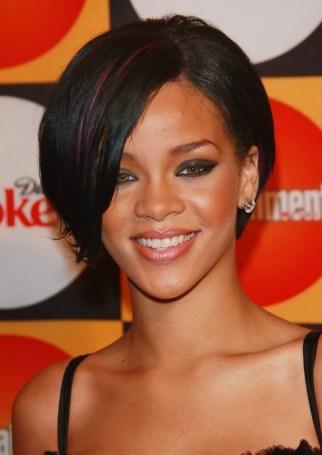 Rihanna Bob Hairstyles: Sexy Short Bob Cut with Side Bangs