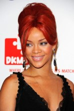 Rihanna Formal Red Updo: Elegant French Twist Hairstyle