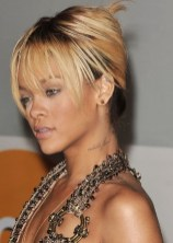 Rihanna Updo Hairstyle: French Twist Updo for Party