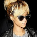 Rihanna High Bun Updo : Stylish Messy Bun Updos with Bangs