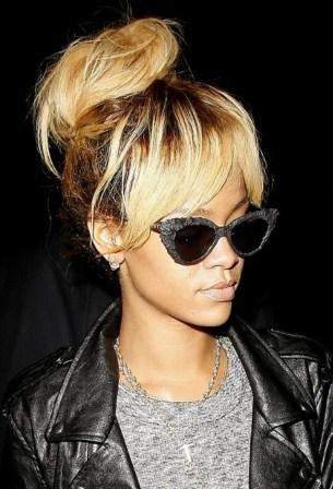 Rihanna High Bun Updo : Stylish Messy Bun Updos with Bangs