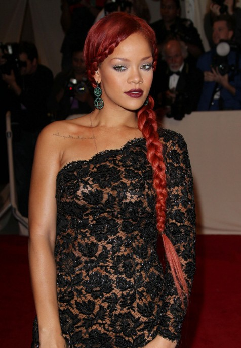 Rihanna Long Braided Red Hairstyle