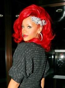 Rihanna Medium Red Hair Style With Layers