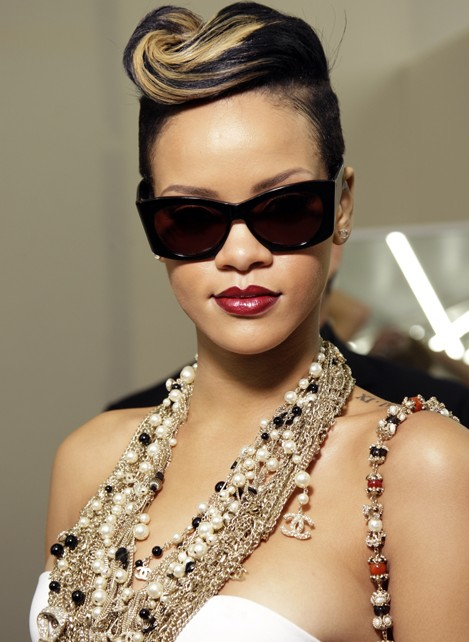 Rihanna Modern Pompadour Updo Hairstyle