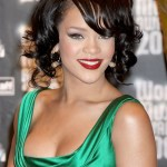 Rihanna Short Curly Bob Hairstyle with Side Swept Bangs