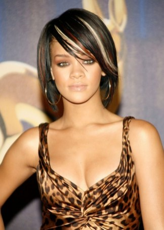Rihanna Short Straight Hairstyle with Bright Colors