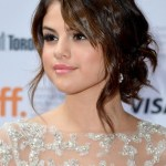 Fall Hairstyles: Selena Gomez Latest Updo Hairstyle with Side Bangs