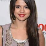 Selena Gomez Long Straight Hairstyle with Bangs
