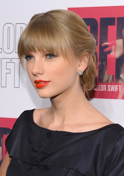 Taylor Swift Braided Updo with Bangs