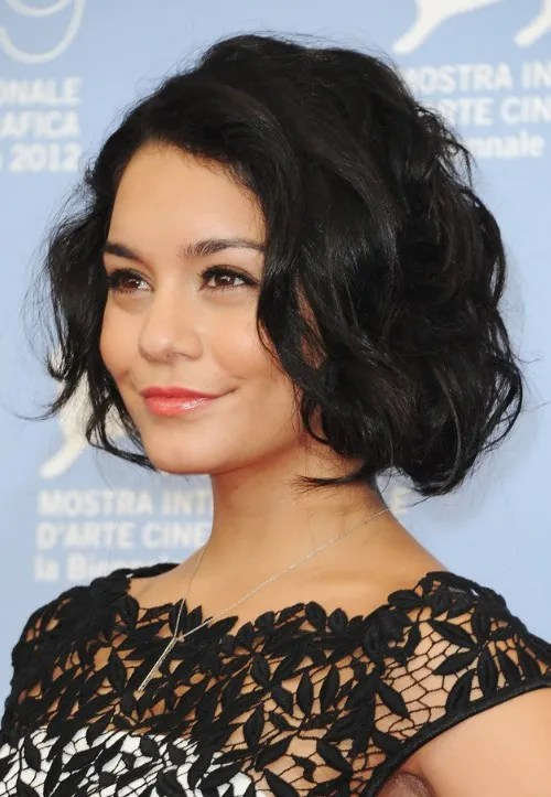Vanessa Hudgens Latest Hairstyle Short Black Wavy Haircut
