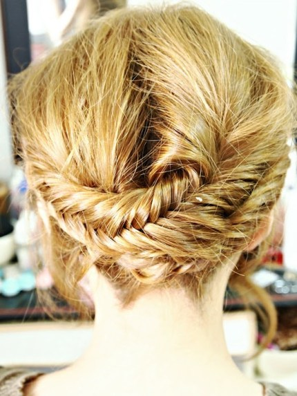 Back View of Cute Hippie Halo Crown Hairstyle