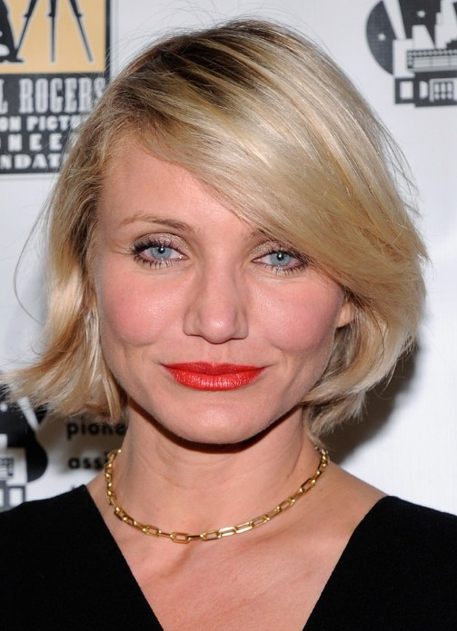 Cameron Diaz Blonde Bob Hairstyle With Bangs Hairstyles