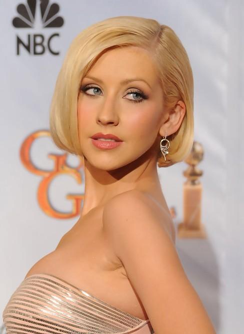 Christina Aguilera Short Blonde Bob Hairstyle With Bangs