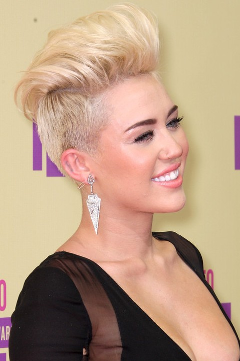 Miley Cyrus Shaved Soft FauxHawk Hairstyle