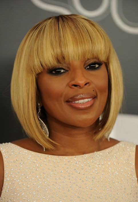 Mary J Blige Trendy Short Inverted Bob Cut Hairstyles