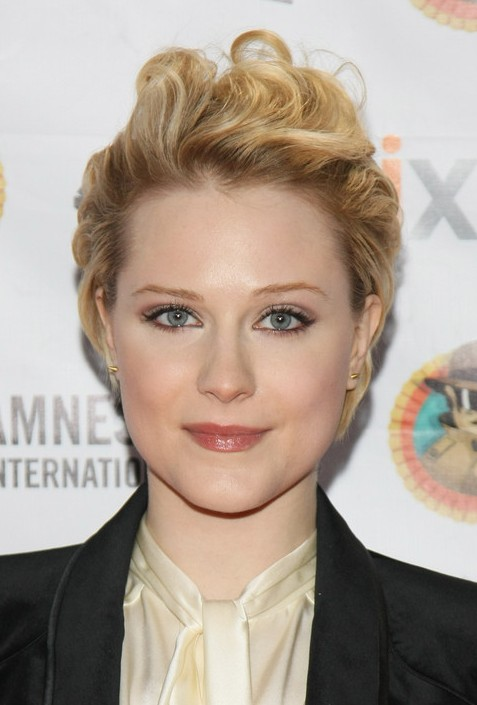 Evan Rachel Wood Layered Short Hairstyle with Waves 2013