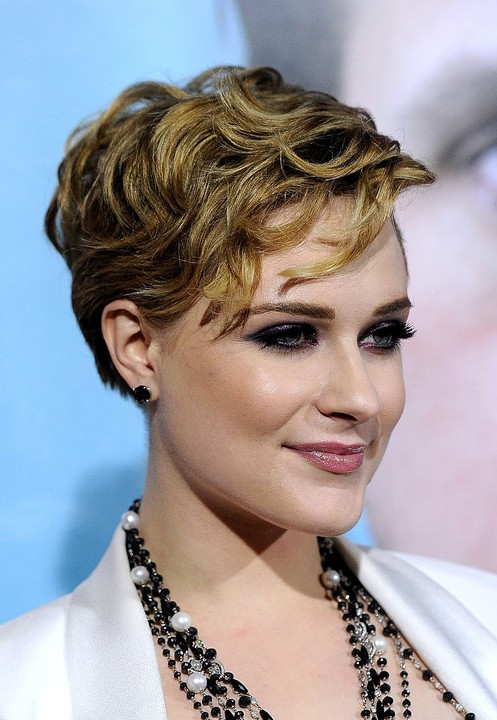 Evan Rachel Wood Layered Short Wavy Hairstyle 2013