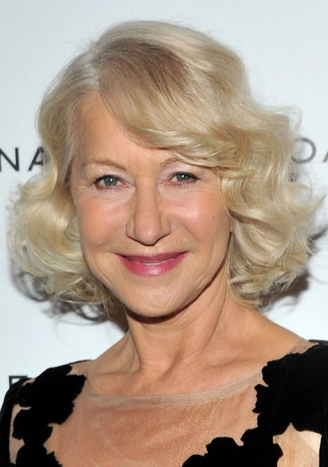 Helen Mirren Blonde Curly Bob Hairstyle for Women Over 60