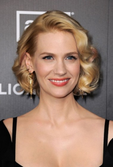 January Jones Blonde Curly Bob Hairstyle