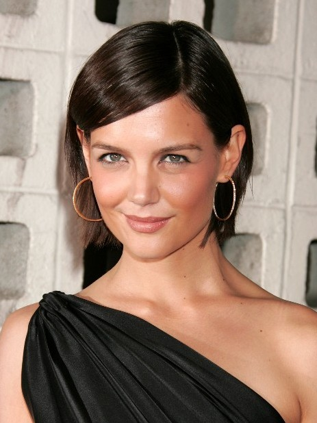 Katie Holmes Inverted Bob Hairstyle with Bangs