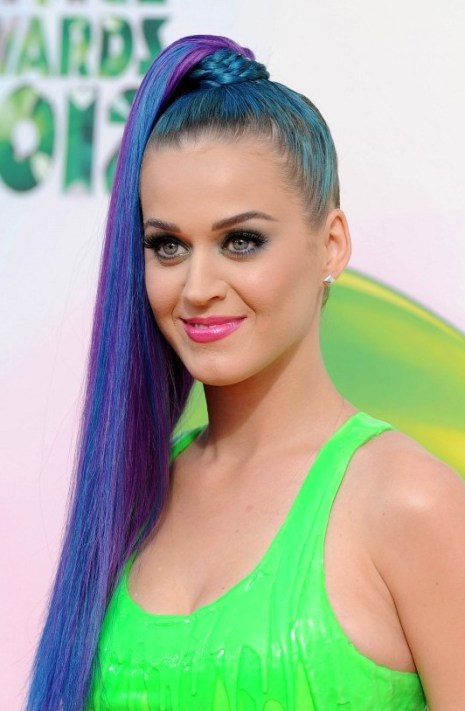 Katy Perry Braid-Wrapped Ponytail : Multi-Colored Hairstyle