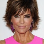 Lisa Rinna Layered Short Razor Cut with Bangs for women Over 40