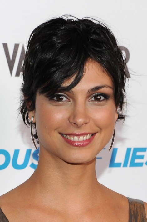 Morena Baccarin Shaggy Layered Short Black Haircut