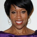 Regina King Short Black Hairstyle with Side Swept Bangs