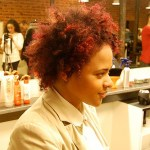 Side View of African American Curly Red Hairstyle