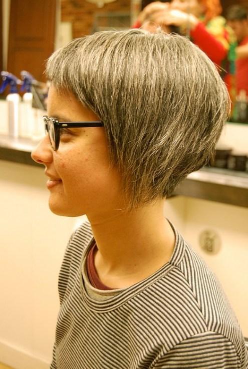 Side View of Asymmetrical Bob Haircut