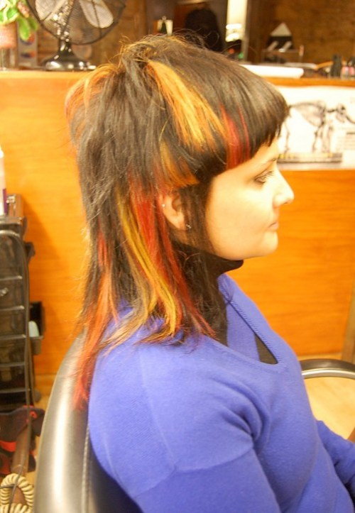 Side View of Trendy Colored Medium Length Hair
