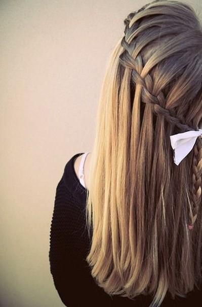 Sleek Waterfall Braid Hairstyle for Girls