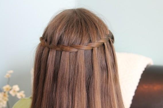 Sleek Waterfall Braid for Long Straight Hair