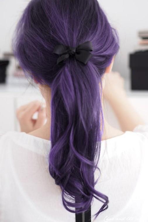 Spunky Youthful Bow Purple Ponytail