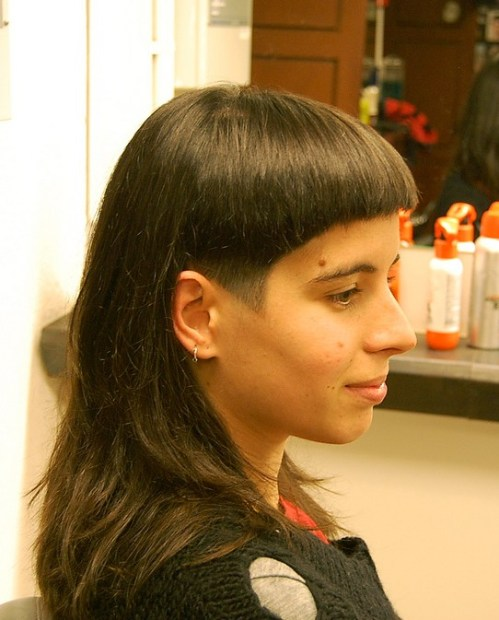 Trendy Long Straight Haircut with Bangs